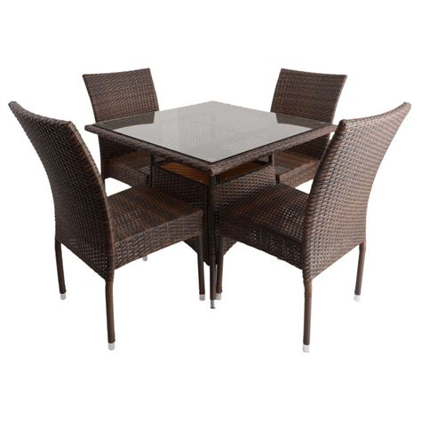 Wicker Dining Table Set Azuma 5 Wicker Rattan Dining Table Chair Garden Patio Furniture Set Brown