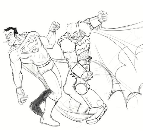 superman vs batman drawing coloring coloring pages