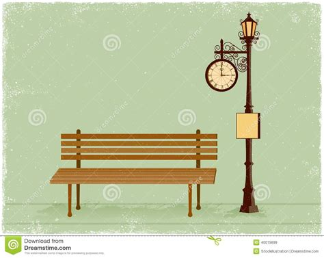 old style l post street clock and l post with park bench stock vector