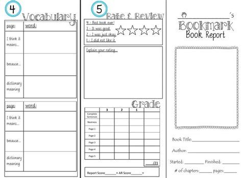 bookmark book report bookmark book report tri fold fiction and nonfiction