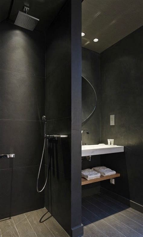 Kleines Bad Mit Dusche Und Waschbecken by Stilvolle Und Mutige Badgestaltung In Schwarz Freshouse
