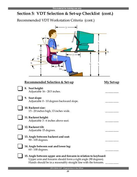 Osha Workstation Checklist Pictures To Pin On Pinterest Thepinsta Ergonomic Office Checklist Template