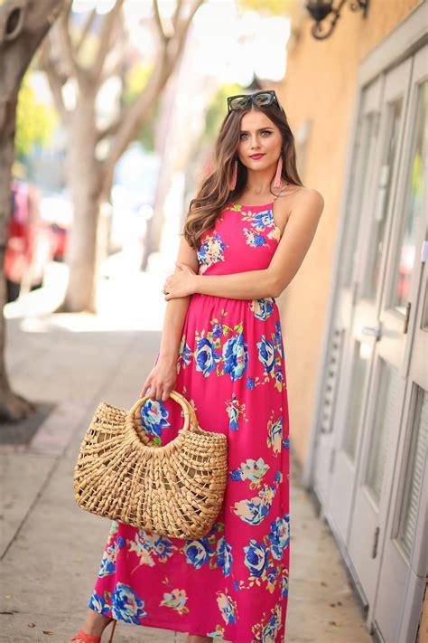 Dress Irina Baby Pink ootd pink floral print maxi dress bondgirlglam