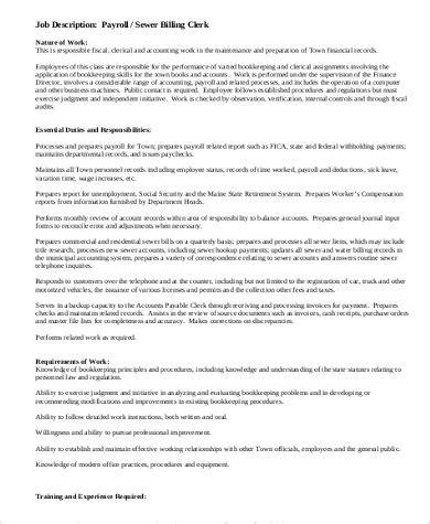 Payroll Clerk Description by Payroll Clerk Description Sle 9 Exles In Word Pdf