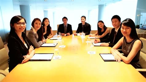 Confident Asian Chinese Male Female Business Finance Team City Boardroom Future Planning