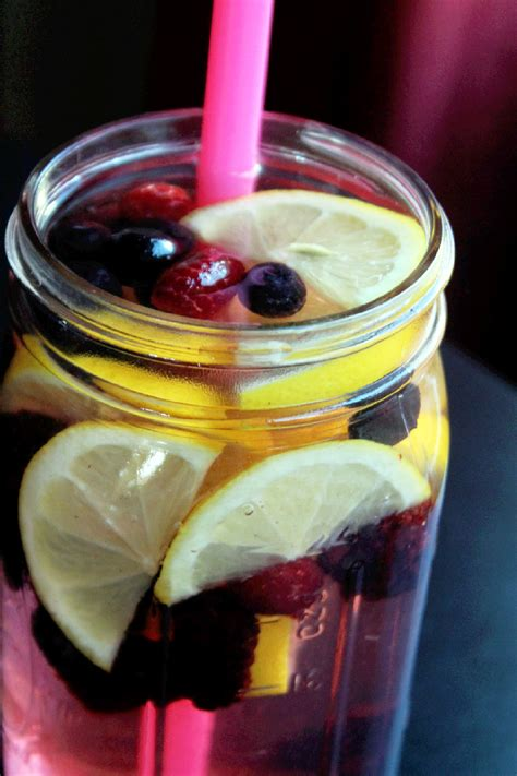 Detox Water With Raspberries And Blueberries by Lemon Berry Flush Spa Water Not Quite A Vegan