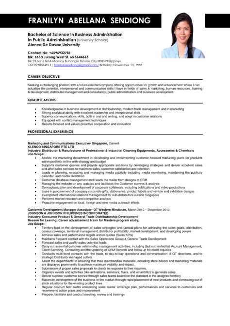 resume formate business administration resume sles sle resumes
