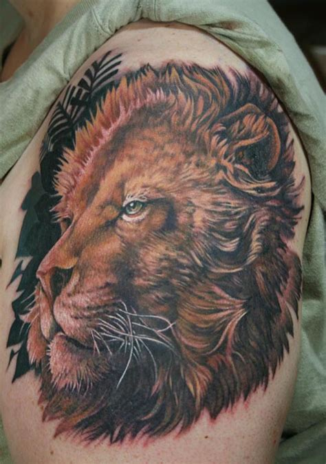 realistic lion tattoo colorful and realistic design of