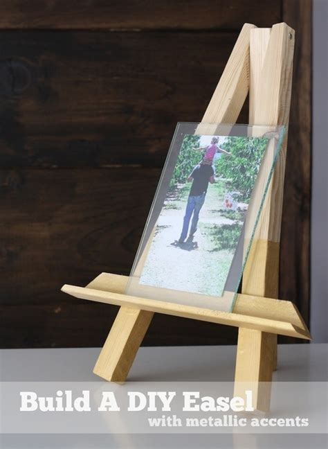propped  metallic diy easel wooden diy easel