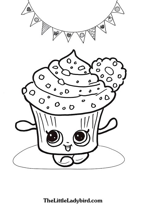 print shopkins cupcake coloring pages free printable