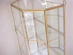 Glass And Brass Wall Curio Cabinet by Vintage 3 Shelf Glass Brass Display Curio Cabinet