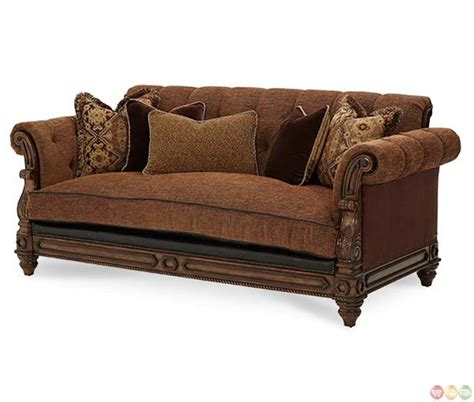 Michael Amini Vizcaya Genuine Leather And Fabric Leather Upholstery Sofa