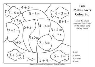 Fish Maths Facts Colouring Page » Home Design 2017