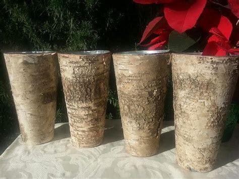 Birch Wood Vases by Rustic Bark Covered Birch Wood Flower Vase Wedding