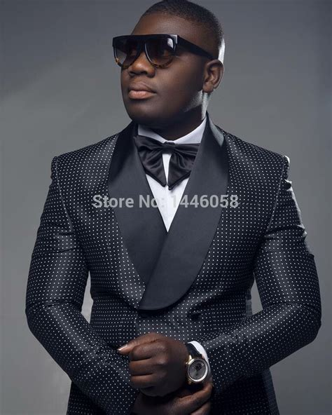 2017 Men Black Double Breasted Wedding Groom Suit With