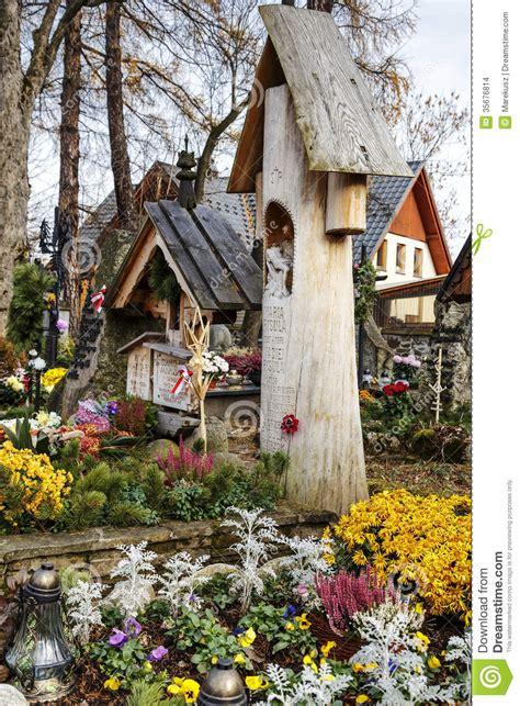 cemetery  zakopane  poland editorial stock image