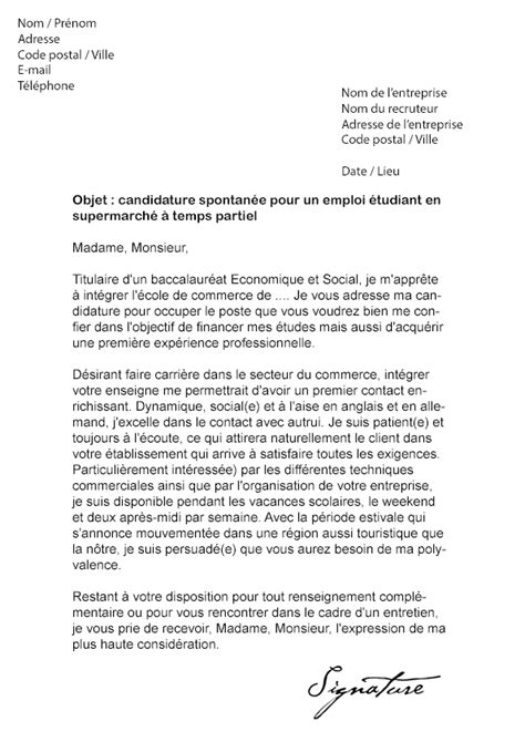 Exemple Lettre De Motivation Carrefour Lettre De Motivation 233 Tudiant Supermarch 233 Mod 232 Le De Lettre