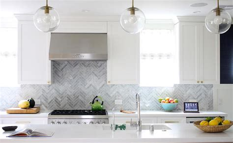 Marble Topped Kitchen Island Gray Marble Herringbone Backsplash Contemporary Kitchen