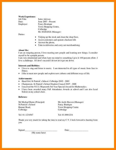 simple curriculum vitae template 4 simple cv format for students lease template
