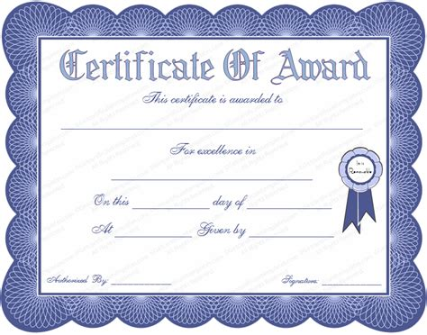 certificate seal template blue seal award certificate template