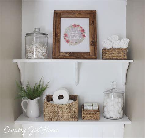 Country girl home bathroom shelves