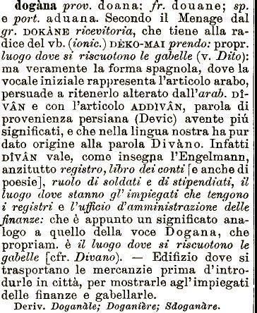 ufficio della dogana etimologia dogana