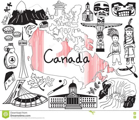 doodle vancouver travel to canada doodle drawing icon stock vector image