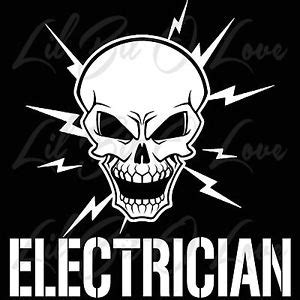 Window Wall Sticker skull and lightning bolts electrician vinyl decal electric