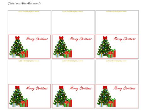 free printable christmas table place cards template