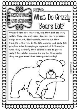 GRIZZLY BEARS ( READY TO PRINT EASY READINGS AND