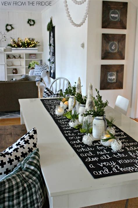 black and white christmas table decorations song lyric table runner and table setting idea view from the fridgeview