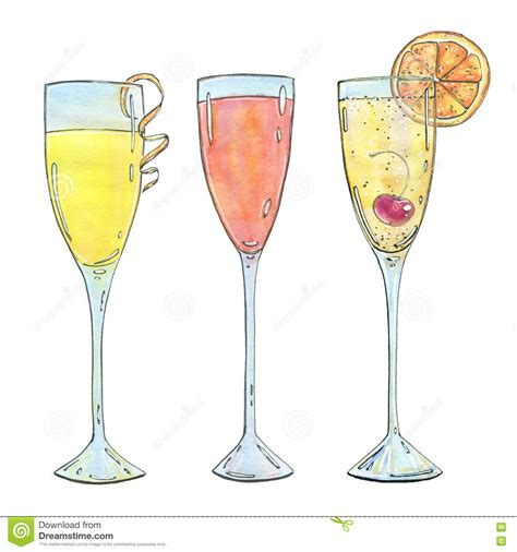 mimosa clipart set of watercolor cocktails mimosa bellini