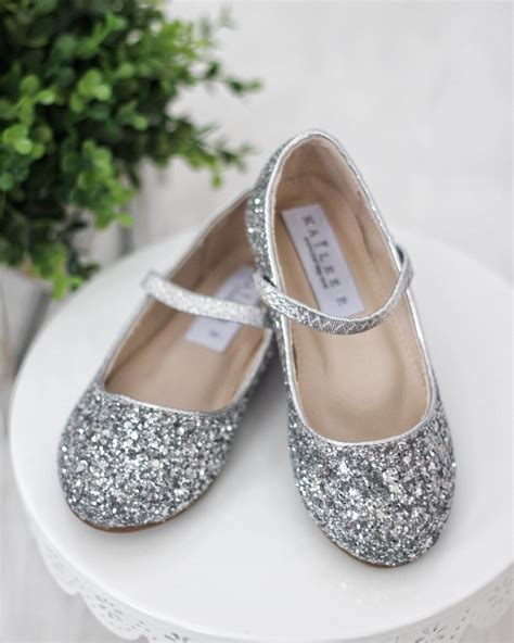silver glitter flower shoes shoes silver rock glitter maryjane ballet flats