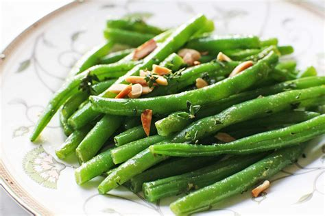 green beans with almonds and thyme recipe simplyrecipes com