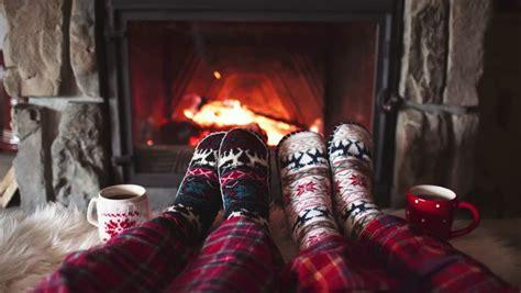 sock fireplace in wool socks by the cozy fireplace 4k