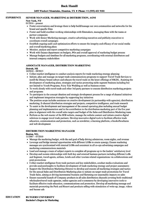 Resume Distribution Manager by Distribution Marketing Manager Resume Sles Velvet