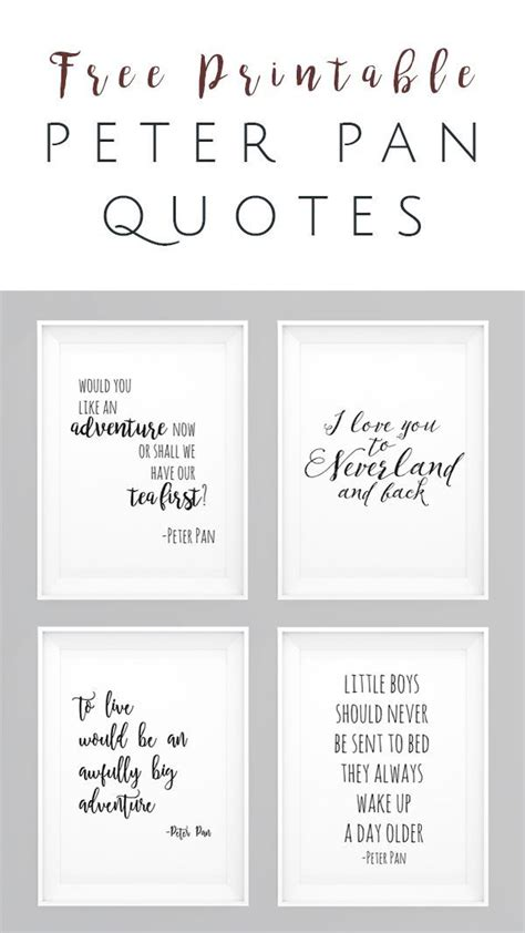 printable nursery quotes peter pan movie quotes free printables set of 4