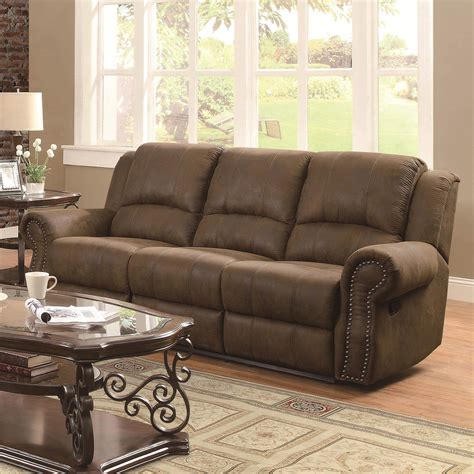 Nailhead Furniture by Sir Rawlinson Traditional Reclining Sofa With Nailhead