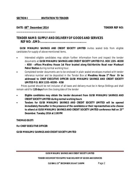 How To Write A Withdrawal Letter From Sacco gusii mwalimu sacco 2015 2016 tenders supply of goods and services
