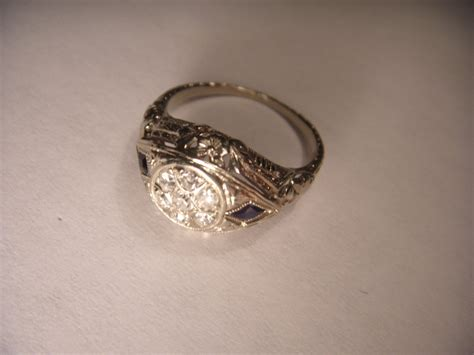 beautiful antique estate 14k white gold filigree
