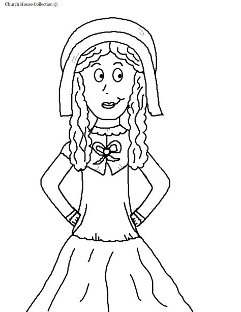 coloring page of a pilgrim girl a pilgrim girl coloring pages