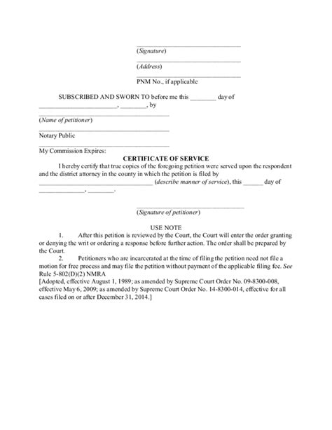 Sle Petition Writ Habeas Corpus Petition For Writ Of Habeas Corpus New Mexico Free