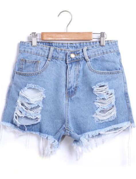 Sale Branded Hotpants Ripped Murah On The Rock blue ripped fringe denim shortsfor romwe