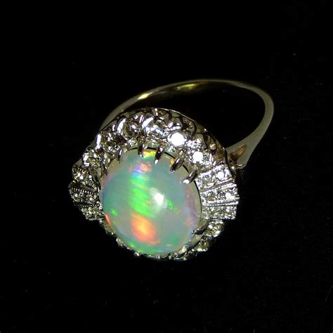 Cat Eye Opal coober pedy cat s eye opal in deco 14k wg ring collectors weekly