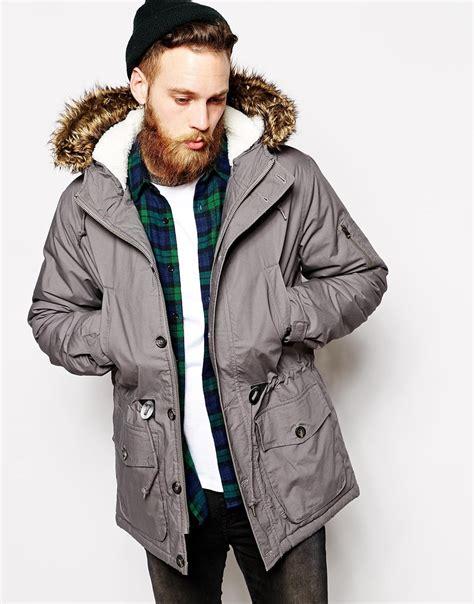 Jaket Parka Grey lyst asos parka jacket in gray for