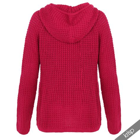 Sweater Hoodie Jumperzipper Georsia womens chunky knitted hooded top zip up jumper sweater warm hoodie jacket cardi ebay