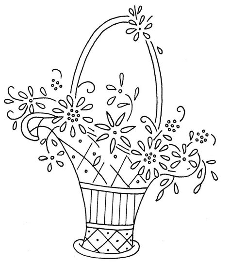 embroidery riscos floral basket embroidery or redwork haft matematyczny