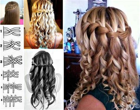 lovely waterfall braid hairstyle  home