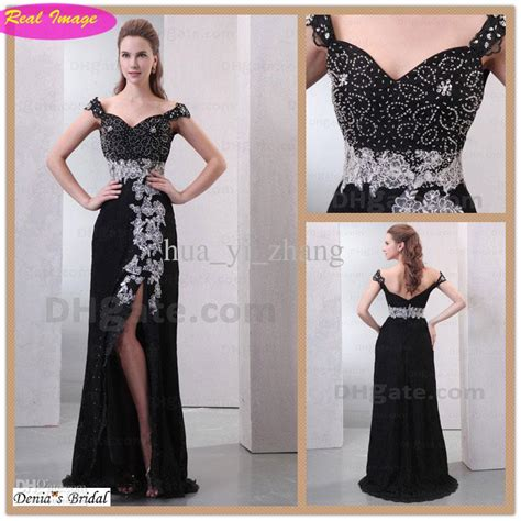 Sexy Black Off Shoulder Evening Dress White Appliqued Beading Splite Side Prom Dresses Lace Hx