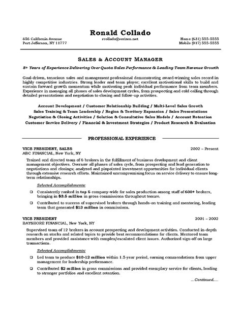 good sales manager resume